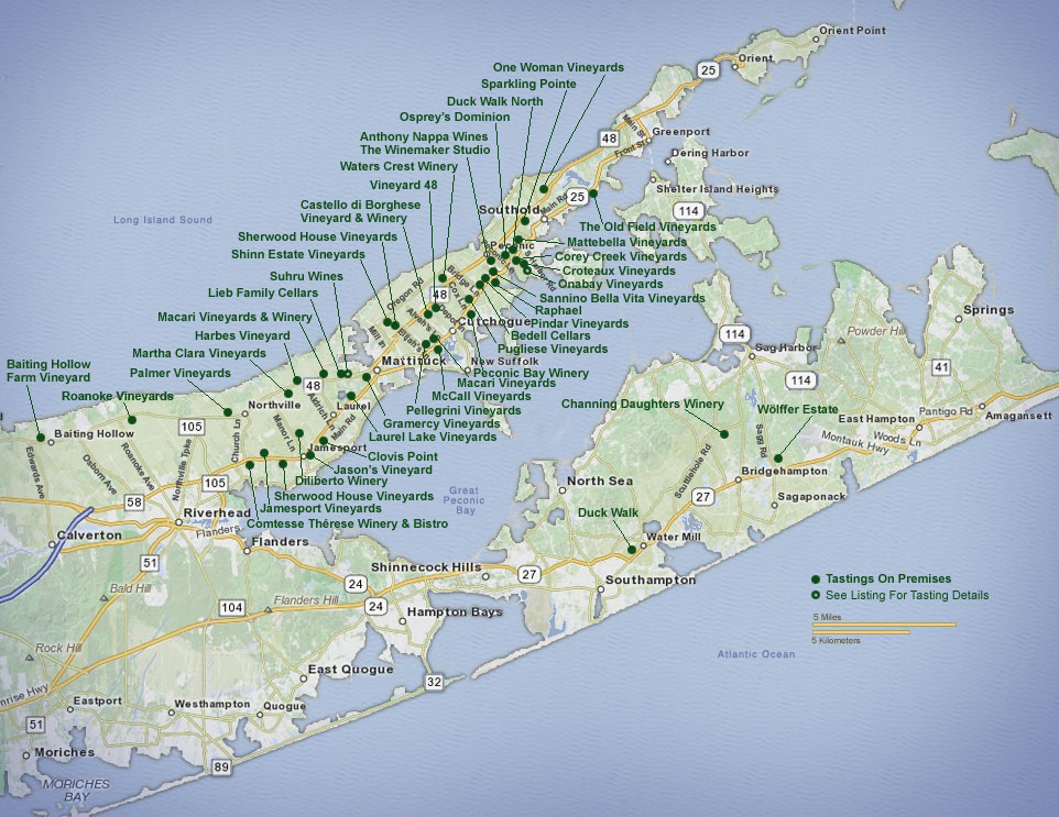 Long Island North Fork Vineyards Map